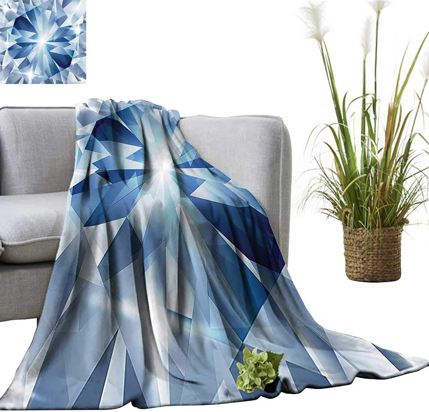 YOYI Travel Blanket Floral Shaded Group of Frozen Charming Diamonds Gems with Art Patterns Decorative bluee Easy to Carry Blanket 60 x70