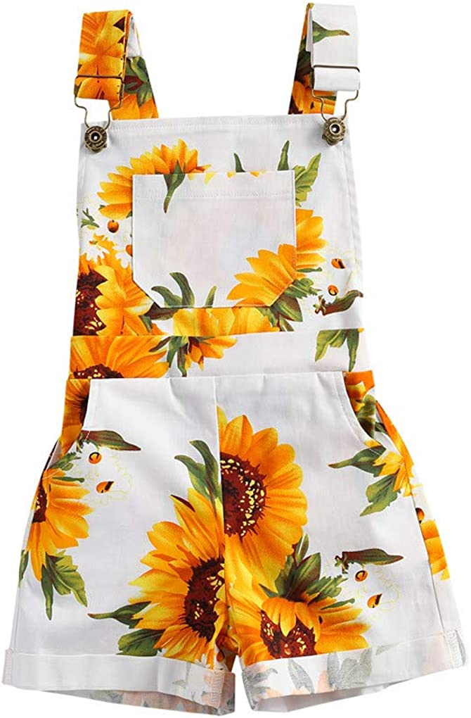 Toddler Baby Girl Summer Overalls Rompers Sunflower Print Shorts with Pocket Suspender Pants Jumpsuit Clothing Outfit