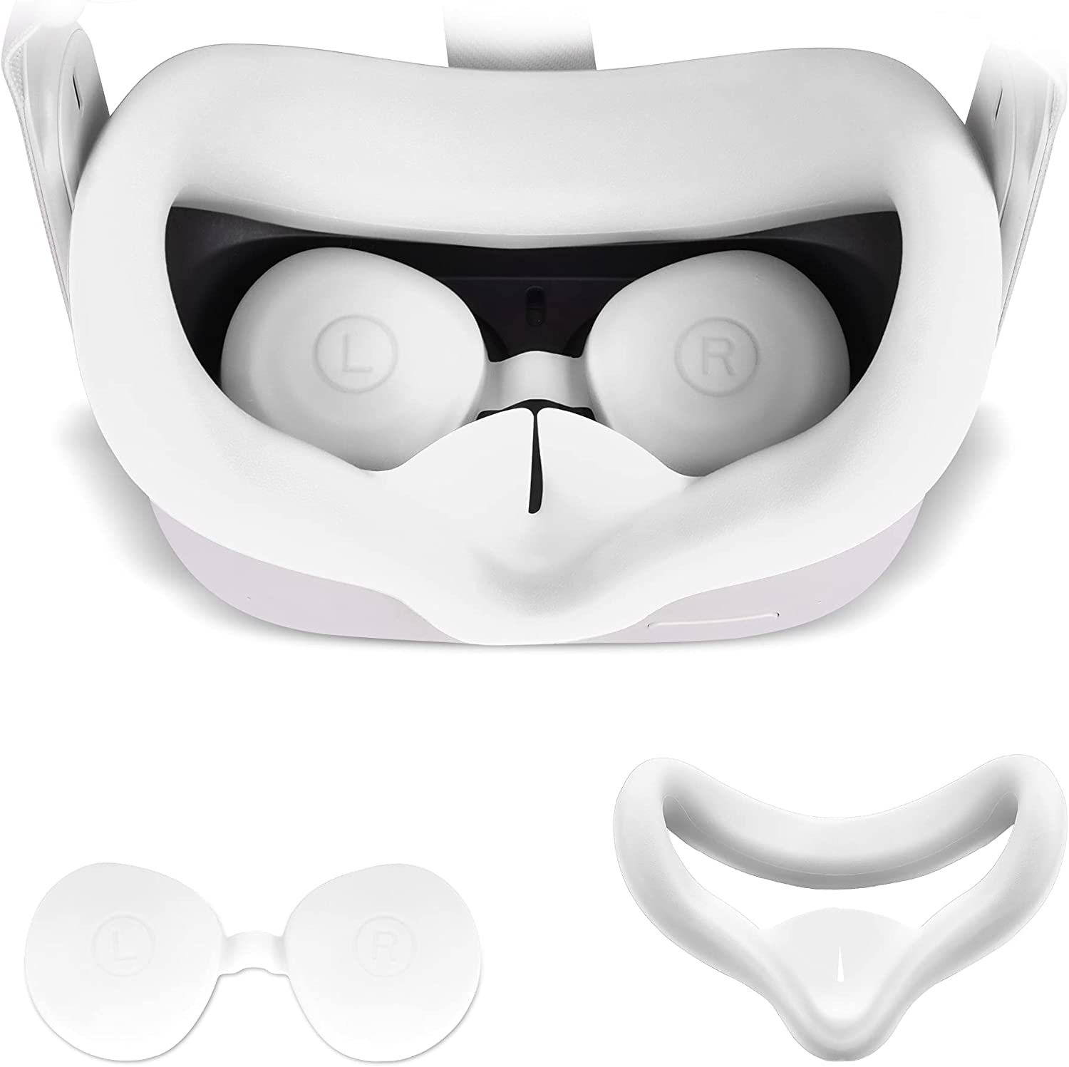 TAACOO VR Silicone Face Cover with Protective Lens Cover for Oculus Quest 2 Washable Cushion Cover Sweatproof & Lightproof (White)