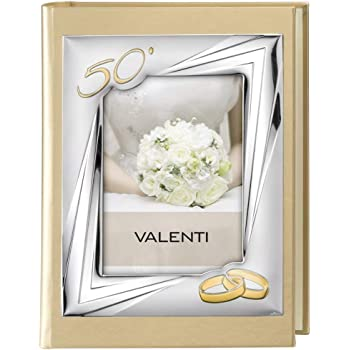 Valenti Argenti Album per Fotografie 50 Anniversario di Matrimonio Foto Copertina cm 13x18 con Albero della Vita
