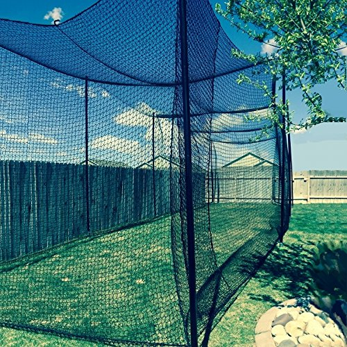 Gourock 10' High X 10' Wide X 40' Long Batting Cage Net, 36 Polypro Netting, Rope Bordered with...