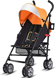 BABY JOY Lightweight Stroller, Aluminum Baby Umbrella Convenience Stroller, Travel Foldable Design with Oxford Canopy/ 5-Point Harness/Cup Holder/Storage Basket,Orange