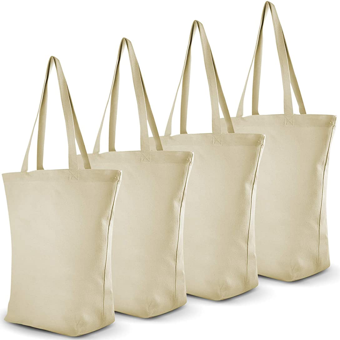 分類意識的合理化Jesty Crafts ヘビーデューティラージキャンバストートバッグ 大きな底マチ付き – 4パック 12オンス 再利用可能なキャンバス買い物バッグ – クラフト、HTV、食料品、買い物に最適なキャンバスバッグ – 高さ16 x 幅16 x 奥行き6.5インチ