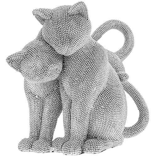 The Leonardo Collection Silver Art Twin Cats Ornament, 24x15x21cm, LP44606