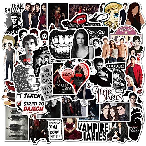 Aufkleber für Wasserflasche, Skateboard, Gepäck, Trolley, Laptop, Cartoon-Motiv, Schwarz und Weiß, 56 Stück The Vampire Diaries