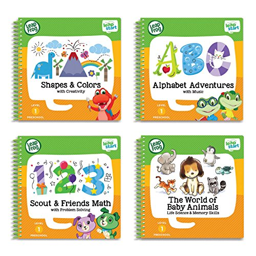 LeapFrog LeapStart Preschool 4-in-1 Activity Book Bundle with ABC, Shapes & Colors, Math, Animals