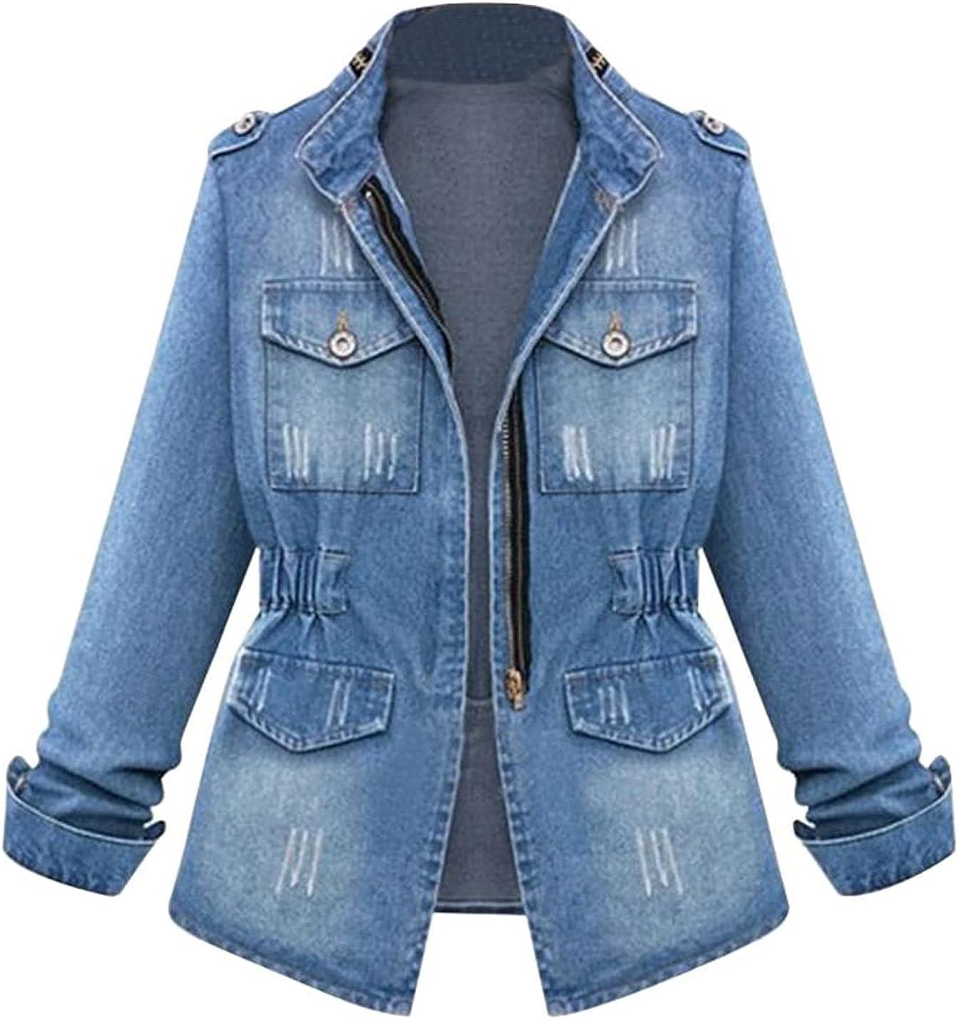 Peaceglad Womens Oversized Long Sleeve Zip Ripped Denim Jacket Casual Tunic Tops