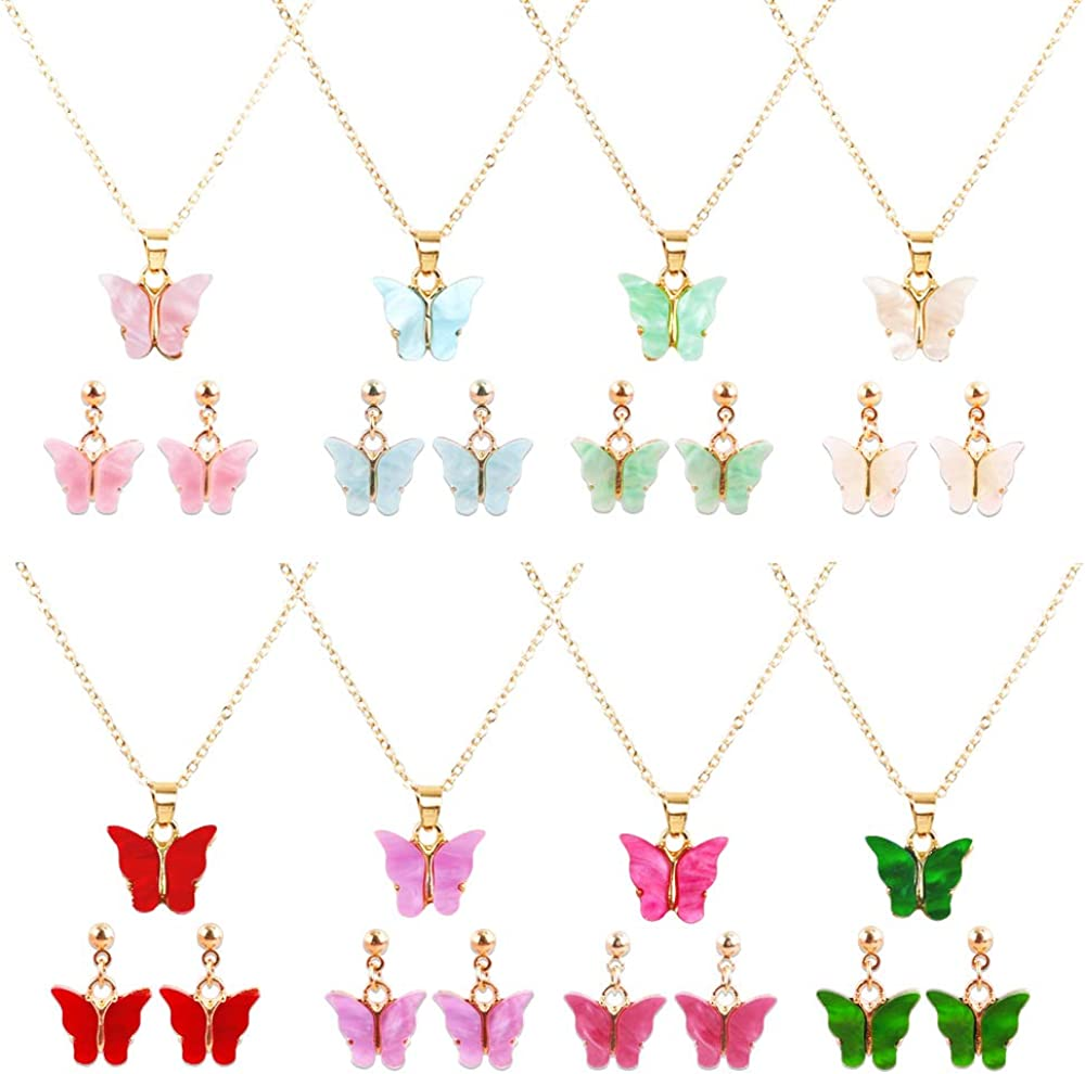 8 Pairs Butterfly necklace Earrings set - Acrylic Butterfly Pendant Necklace, Butterfly Stud Earrings, Great for Women,Girls