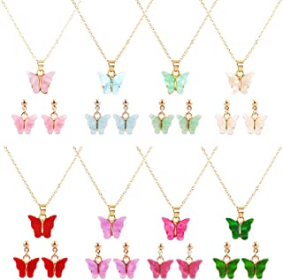 feixun 8 Pairs Butterfly Necklace Earrings Set - Acrylic Butterfly Pendant Necklace, Butterfly Stud Earrings, Great for Wo...