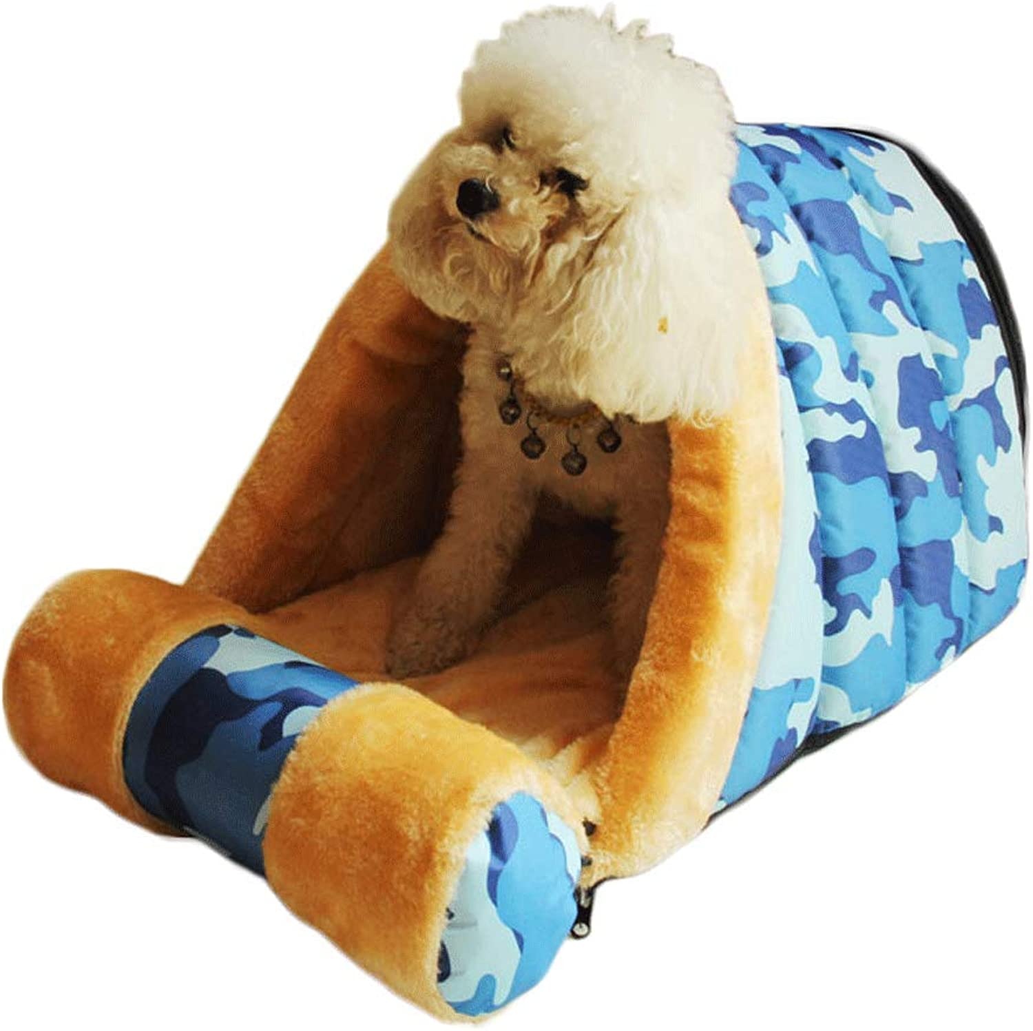 Pet Bed Small Pet Nest Detachable Cleaning Pillow Bomei Teddy Bear Indoor Dog House Cat Nest A+ (color   bluee, Size   58x35x33cm)