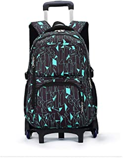 XHHWZB Rolling Backpack Boys Girls Trolley School Bags with Lunch Bag&Pencil Case,6 Wheels