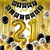 iZoeL 21 Ans déco Anniversaire Or Noir, bannière Joyeux Anniversaire, Ballon hélium Chiffres 21 XXL, Rideau à Franges Or Noir confettis Latex numéro Tableau Deco confettis Fille Femmes