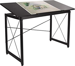 Elevens 47'' Adjustable Drafting Table - Art and Craft Drawing Folding Desk - Reading & Writing Work Station (Black)