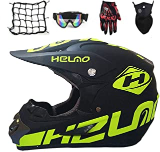 IKHNGLE Kids Youth Offroad Helmet, Offroad Gear Combo Helmet,DOT ATV Off-Road Dirt Bike Motocross Helmet Gear Combo Gloves Goggles Unisex,Goggles+Gloves+Mask+Network