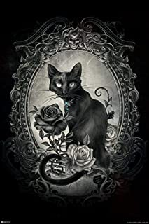 Cute Witch Girl Illustration  Black Cat Art  Black and White Art  Witchy Aesthetic  Cute Spooky Art  Fantasy Illustration ART PRINT