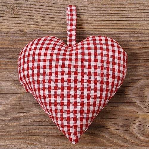 matches21 Dekohänger Herzanhänger Stoffherz Landhaus Premium Gerti weiß rot kleinkariert mit Aufhänger 15x15 cm cm 1 STK