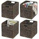 mDesign Juego de 4 cajas de almacenaje – Cajas organizadoras plegables hechas de jacinto de agua – Cestas de almacenaje con patrón trenzado – Ideales para estanterías cuadradas – negro