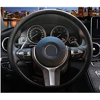 Sulida Steering Wheel Cover Auto Car Silicone Great Grip Anti-Slip Steering Cover for Diameter 36-38cm/13-15inch (black1)