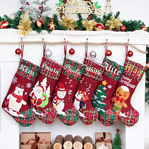 LUBOTS 2020 New 1 Pack Personalized Christmas Stockings(21inch) Embroidered Linen Applique Burlap Fireplace Hanging Christmas Ornament for Family Decorations Holiday Xmas Gift