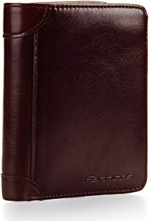 Ferricos RFID Real Leather Extra Capacity Men Bifold Flip Business Wallet 2 ID Windows 7 Slots