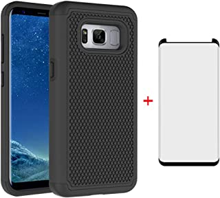 Phone Case for Samsung Galaxy S8 with Tempered Glass Screen Protector Cover and Cell Accessories Hard Rugged Hybrid Rubber Heavy Duty Protective Glaxay S 8 8S Edge SM-G950U Cases Women Girls Men Black