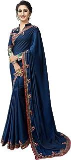 Monika Silk Mill Women's Art Silk Plain lace work Saree With Un Stitched blouse (Blue Color_M205_SE_R-170)