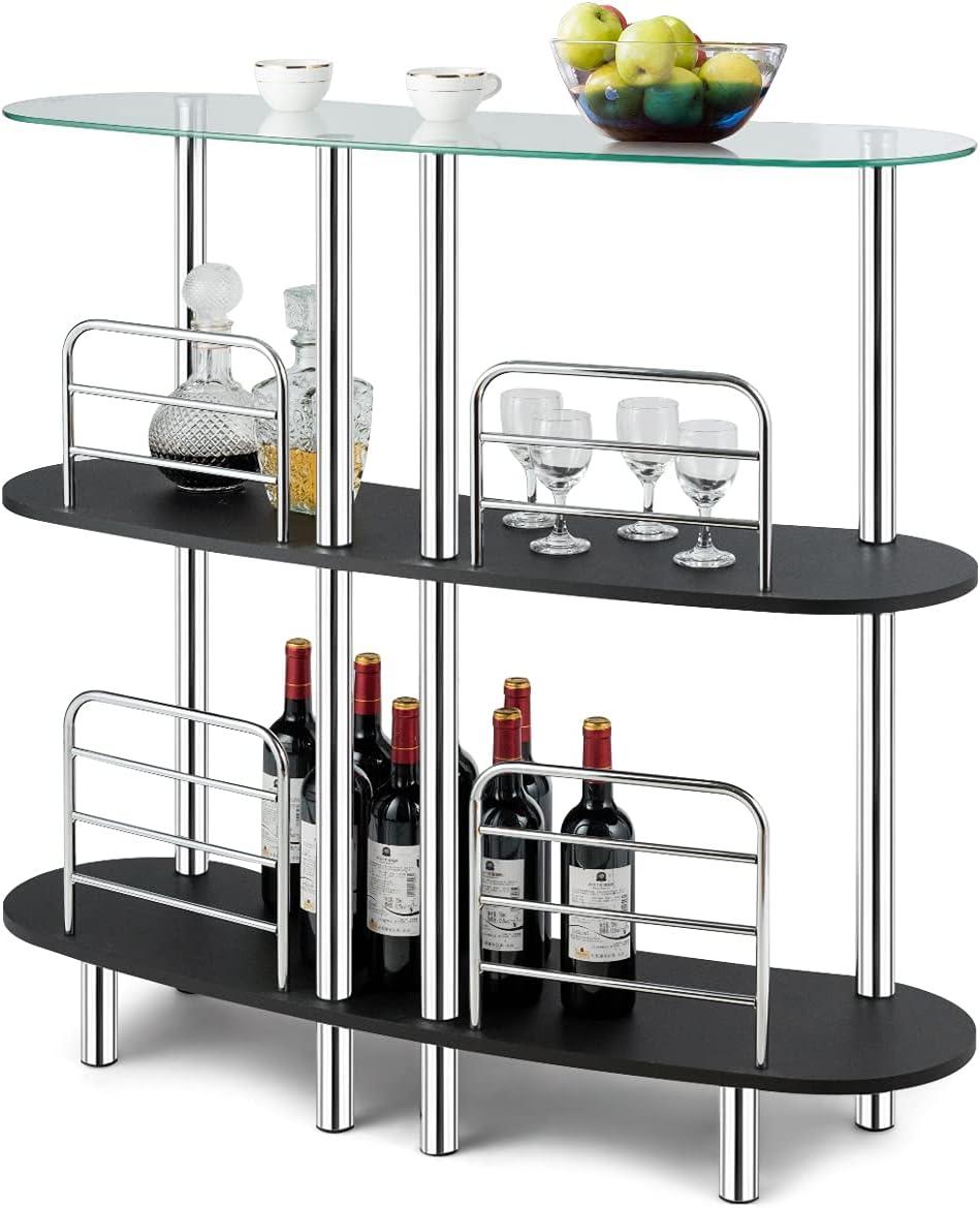 FFlyer 3-Tier Glass Liquor Bar, Wine Display Table, Corner Bar Cabinet for Liquor, Wine Bar Unit w/Tempered Glass Counter Top & Metal Frame, Wine Rack Table, Mini Bar for Home/Kitchen/Bar/Pub