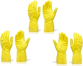 Twenoz Cleaning Gloves Reusable Rubber Hand Gloves, Stretchable Gloves for Washing Cleaning Kitchen Garden (Yellow, 3 Pair)