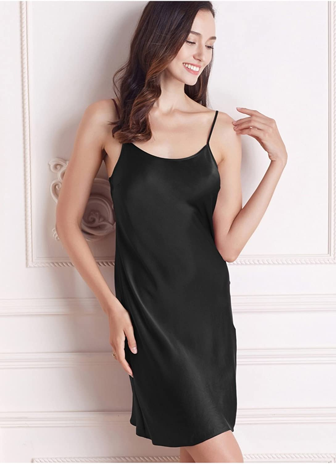 100% Silk Pajamas Women Base Dress Nightwear Sexy Sleepwear Large Size Nightclothes Sling Sleeveless Nightgown (color   C, Size   XXL)