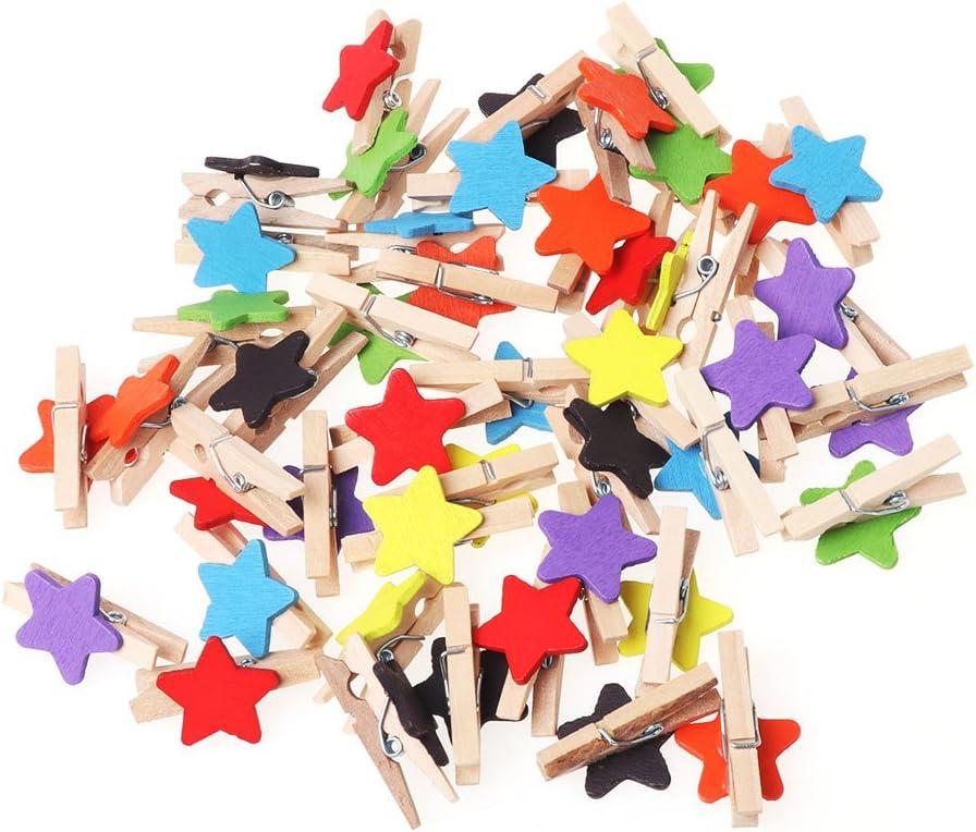 Simdoc Mini Clothespins 50Pcs Colored Craft Star Cli In stock Wooden Brand Cheap Sale Venue