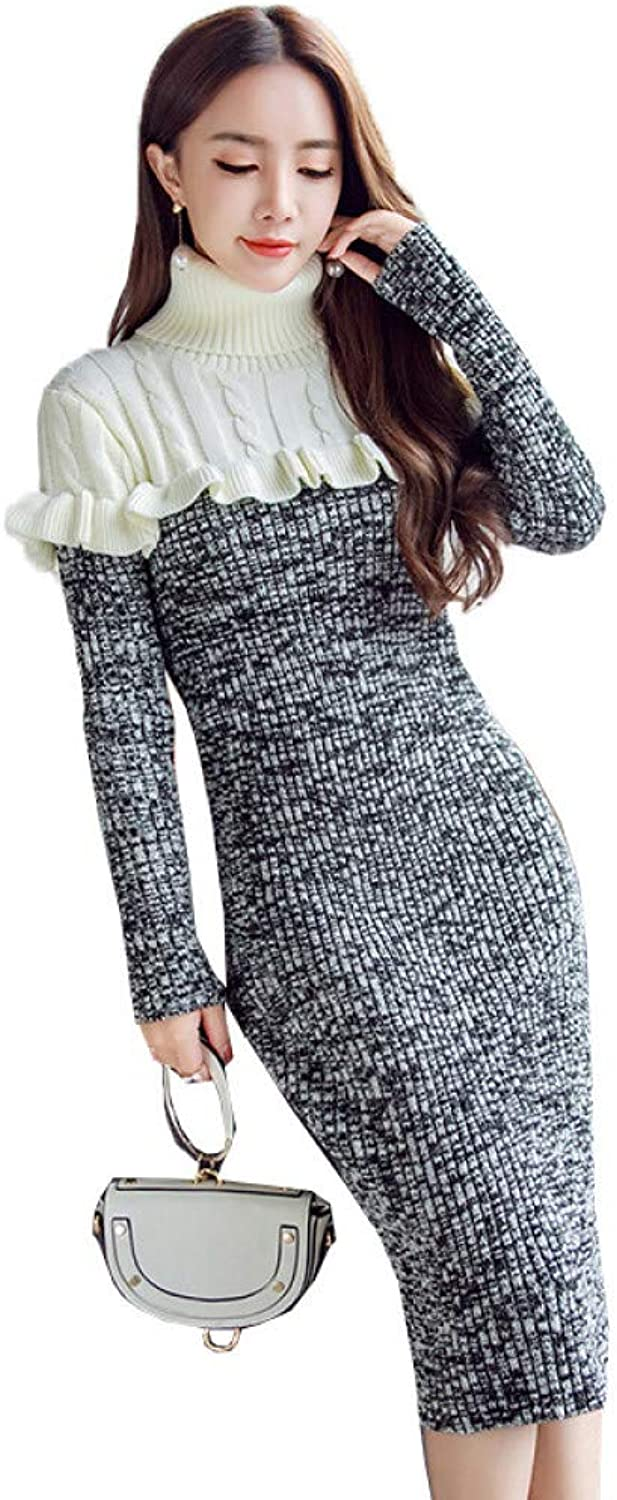 Cxlyq Dresses Autumn Winter Women Knitted Sweater Long Dress Fashion Long Sleeve Patchwork Ruffles Turtleneck Warm Sheath Dress