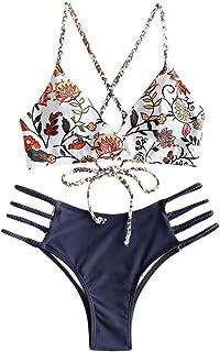 Women Swimwear Adjustable Back Criss-Cross Braided Spaghetti Strap Flower Bikini Set