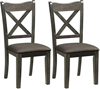 Giantex Set of 2 Dining Chairs, Rubber Wooden Dining Chairs w/Upholstered Fabric Seat, Linen Patten Midcentury Modern Style Cushioned Chairs for Living Room and Dining Room, Dark Gray
