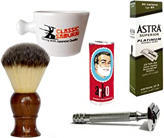 Classic Samurai Men Premium Shaving Set with Heavy Duty Long Handled Safety Razor, Mug, Arko Shaving Soap, Shaving Brush,100 ASTRA Superior Platinum Double Edge Razor & 10 DORCO Blades Great GIFT IDEA