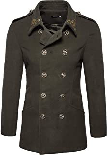 Men's Trench Coat Double-Breasted Vintage Jacket Casual Outwear Overcoat