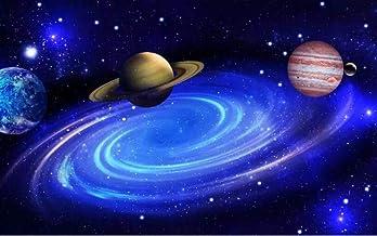 3D Foto Fotomurales - Paisaje del planeta cósmico azul 350x256 cm - 7 strisce Papel pintado tejido no tejido Decoración de Pared decorativos Murales moderna de Diseno Fotográfico