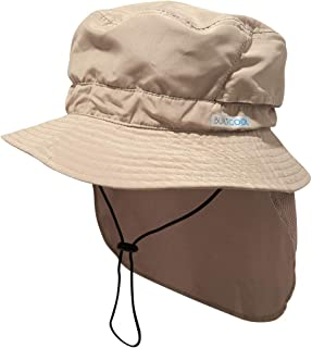 Adult Bucket Cap with Neck Shade – Boonie Hat, One Size, Khaki