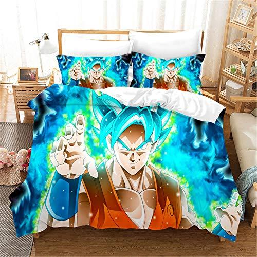 Dragon Ball Funda nórdica 3D Anime Dragon Ball Juego de cama 2 piezas incluyen 1 funda nórdica y 1 fundas de almohada, funda de edredón de anime para niños (5, individual 135 x 200 cm)