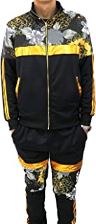Henry & William Men's Hipster Hip Hop Golden Floral Striped Print Fashion Tracksuit- Track Jacket and Pants (Sold Separately)