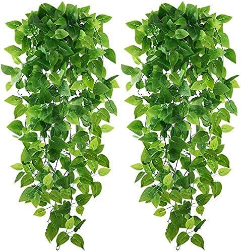 Karoro - Juego de 2 plantas artificiales colgantes de hiedra con hojas de vid falsas, para la pared...