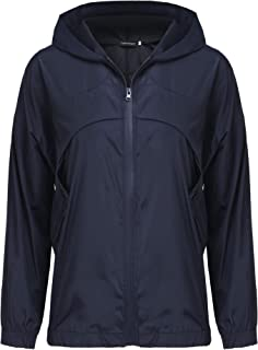 Uniboutique Womens Casual Rain Jackets Hooded Light Raincoat Outdoor Windproof Waterproof Cycling Jacket