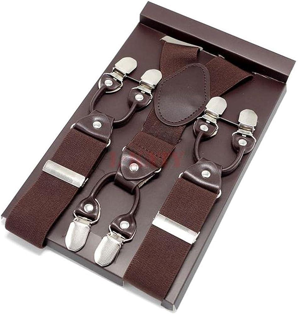 Brown Leather Suspenders For Mens Double Color Trousers Man Braces Cinturino Length-Adjustable Straps 3.5x120Cm