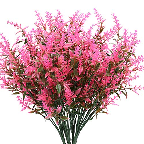 KLEMOO Artificial Lavender Flowers Plants 8 Pieces, Lifelike UV Resistant Fake Shrubs Greenery Bushes Bouquet to Brighten up Your Home Kitchen Garden Indoor Outdoor Decor(Pink)