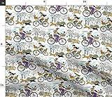 Fahrrad, Bäume, Retro, Hund, Welpe Stoffe - Individuell