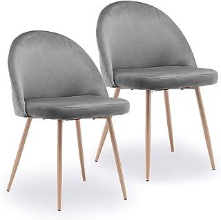 HAZYJT Ensemble de 2 chaises de Salle à Manger, Chaise de Cuisine, Chaise de Salon, Chaise rembourrée en Velours Stable Se...
