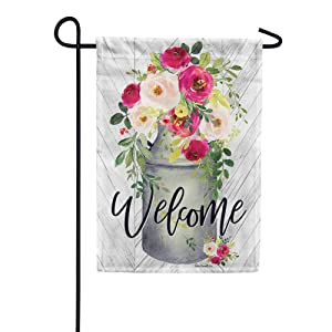 Custom Decor Milk Can Flowers Welcome - Garden Size, Decorative Double Sided, Licensed and Copyrighted Flag - Printed in The USA Inc. - 12 Inch X 18 Inch Approx. Size
