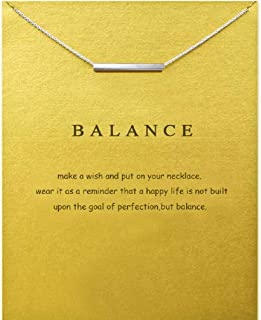 Clavicle Necklace Horizontal Bar Pendant with Gift Card, Small Dainty Pendant Chain, Greeting Card with Best Wish, Delicate and Classy Party Jewelry Favors