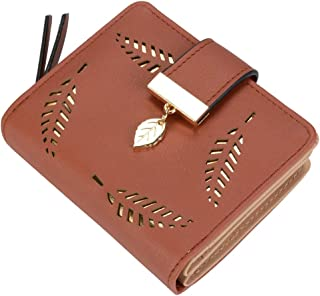 Women's Short Purse Leather Medium Wallet Leaf Bifold Card Coin Holder Small Purses Buckle Zipper Clutch-by Vodiu