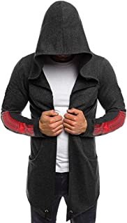 Men Cardigan Long Sleeve Outwear Splicing Hooded Trench Coat Jacket Blouse
