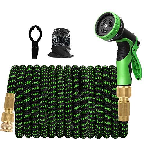 Kikc Manguera Extensible,Manguera de Jardin Manguera Extensible 15m Triple Núcleo de Látex 9 Tipos de interruptores de pulverización Conector de Cobre Puro con Gancho de Metal 15M/ 50FT(Verde